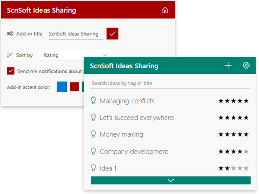 SharePoint ideas sharing add-in