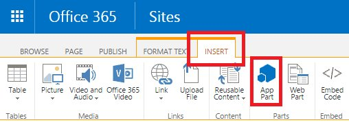 SharePoint - Insert and App Part